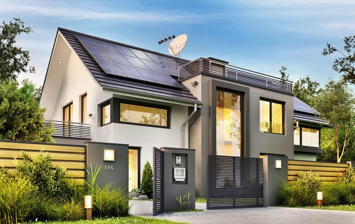 Beautiful home with solar panels