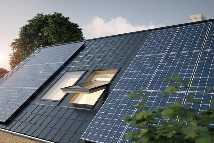 Modern home with solar panels on roof