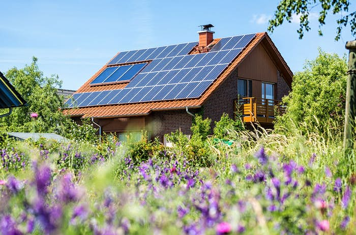 Solar panels on the roof of a country home
